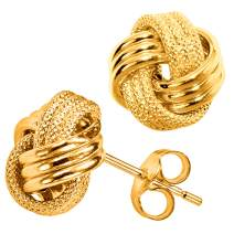 10k Yellow Gold Shiny And Textured Triple Love Knot Stud Earrings, 9mm
