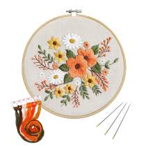 Full Range of Embroidery Starter Kit with Pattern,UNIME Cross Stitch Kit Including Embroidery Cloth with Plant Pattern, Bamboo Embroidery Hoop, Color Threads and Tools Kit (Floral)