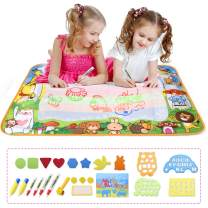 MESHA Aqua Magic Doodle Mat, 34.4 x 22.4 inch Extra Large Water Drawing Doodling Mat Coloring Mat Educational Toys Gifts for Kids Toddlers Boys Girls Age 3 Up (7 Colors)