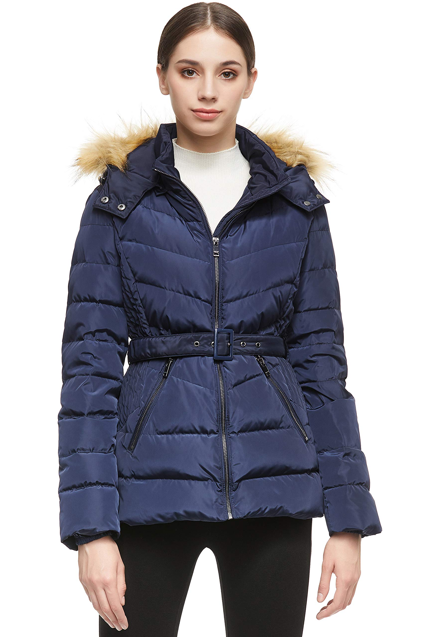 Orolay Women's Short Down Coat with Removable Elastic Belt