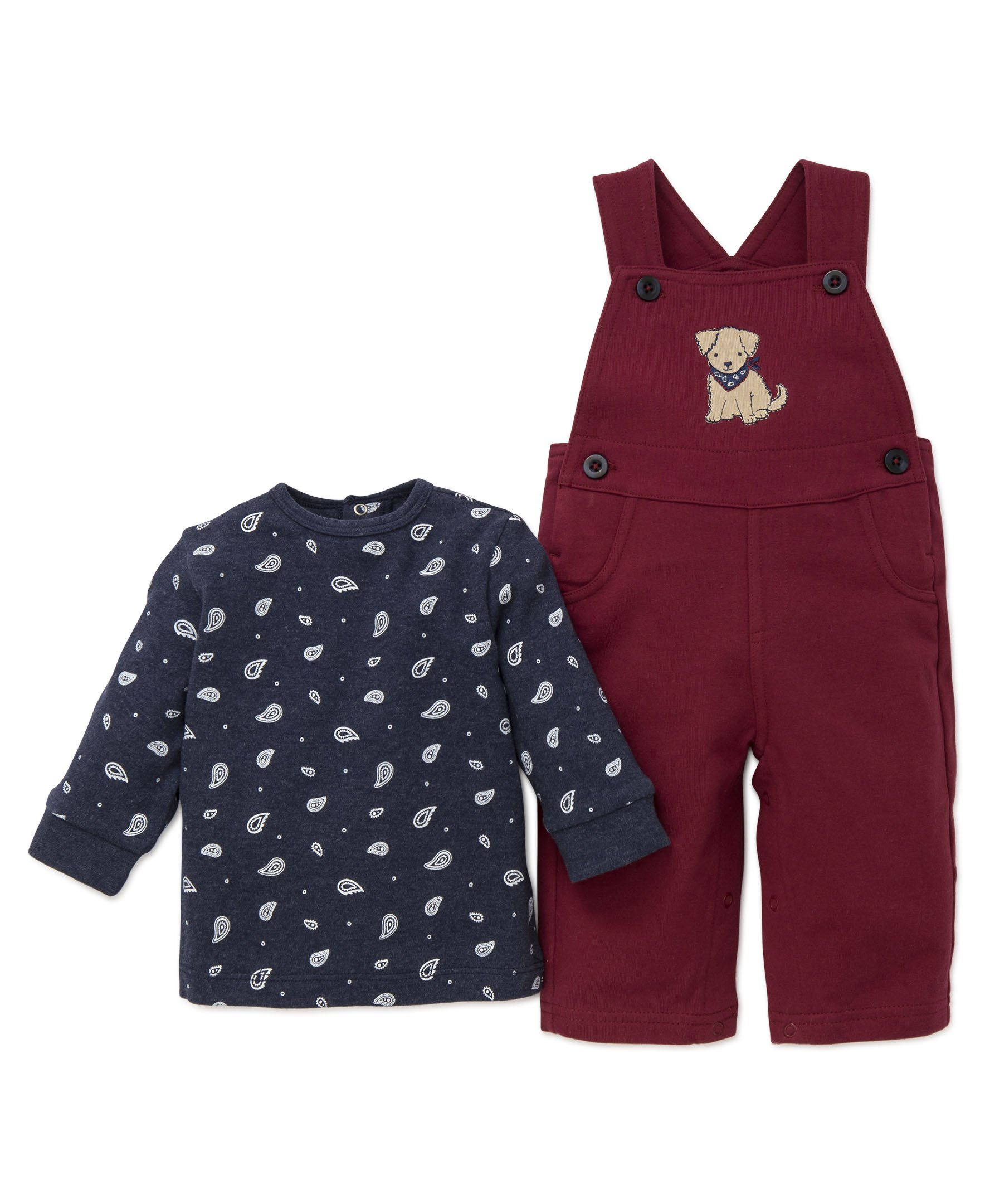 Little Me Baby Boys' 2 Piece Knit Overall Set