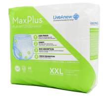 LiveAnew Maxplus Pull-on Disposable Underwear   Comfortable Leg Gussets & Smooth Discreet Seams   Thin, Lightweight, & Extra Absorbent Underwear   Double Layered Undies for Women (XXL, 12 Pads)