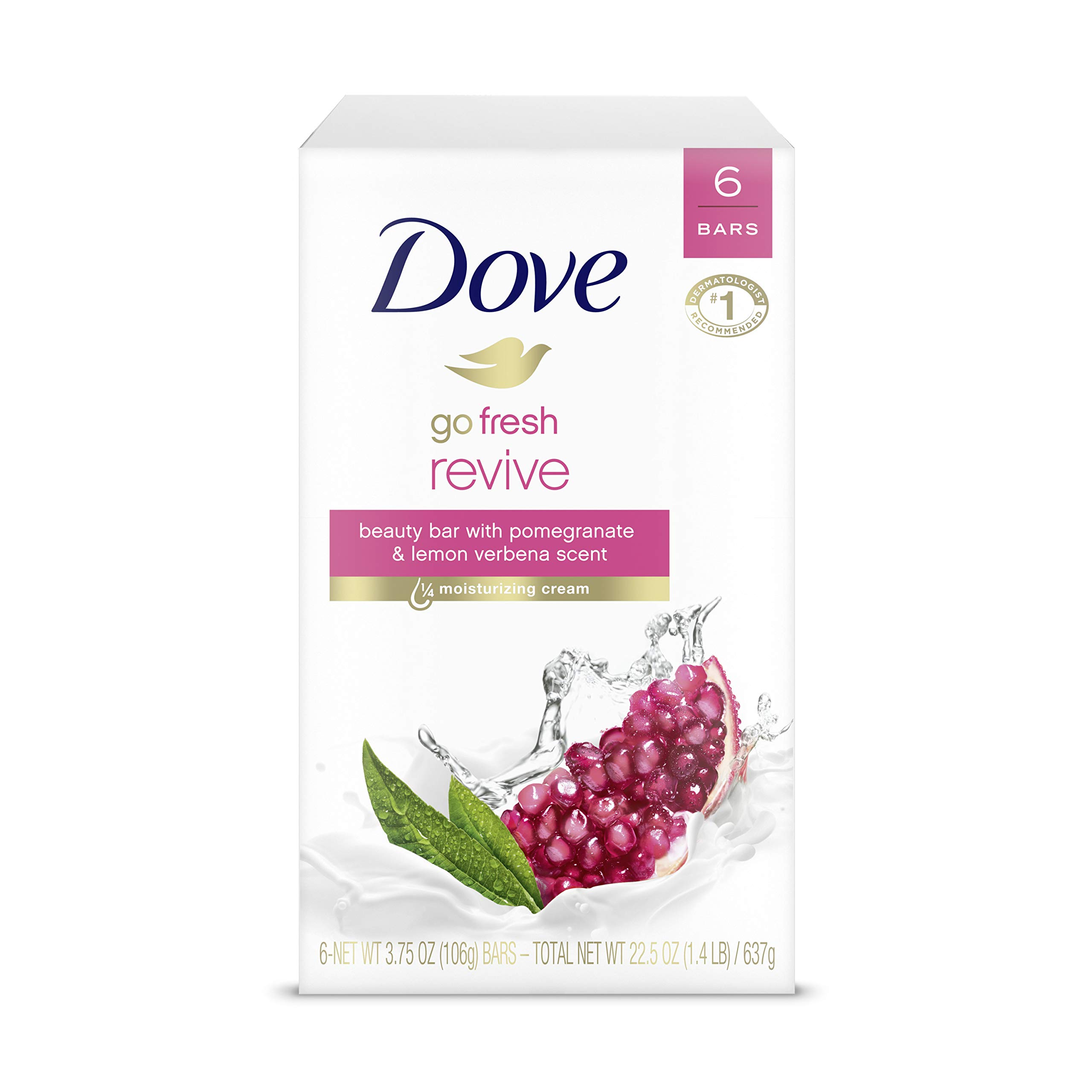 Dove Beauty Bar For Softer and Smoother Skin Pomegranate and Lemon Verbena More Moisturizing Than Bar Soap 3.75 oz 6 Bars
