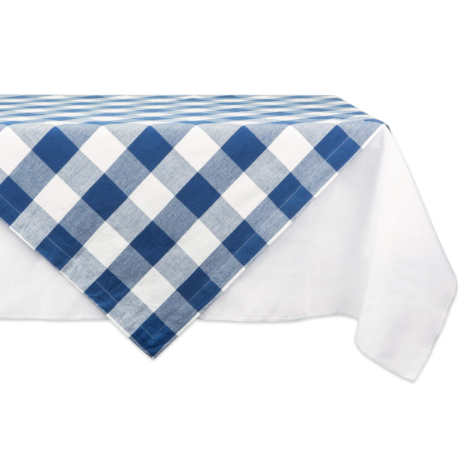 DII Classic Gingham Check Tabletop Collection 100% Cotton Machine Washable, for Spring, Summer, Everyday Use, Entertaining and Family Gatherings, Table Topper, 40x40, Navy & Cream
