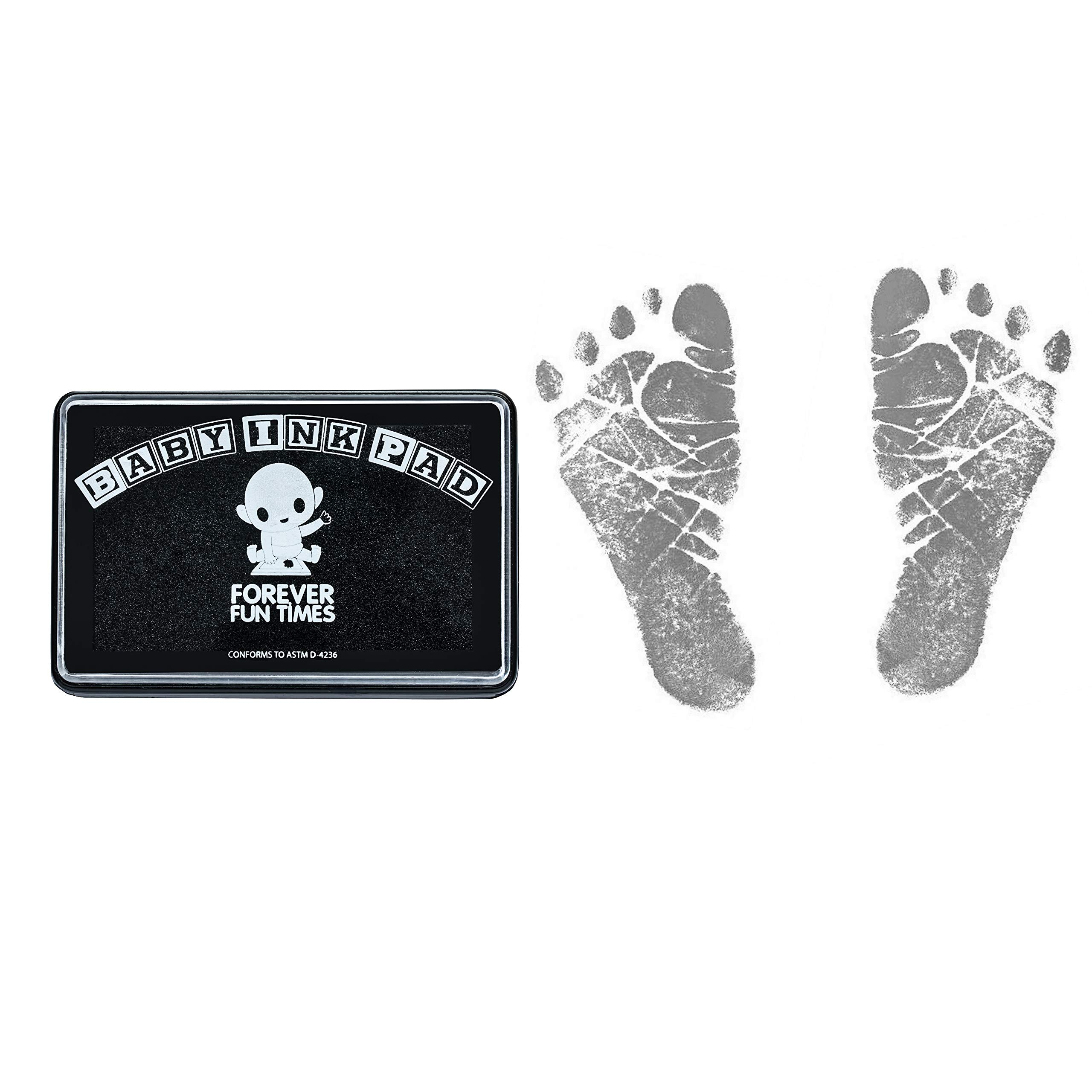 Baby Hand and Footprint Kit by Forever Fun Times   Get Hundreds of Detailed Prints with One Baby Safe Ink Pad   Easy to Clean, and Works with Any Paper or Card   Clean and Safe (Black)