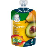 Gerber Organic 2nd Foods, Pear, Mango & Avocado Pureed Baby Food, 3.5 Ounce Pouch (Pack of 12)
