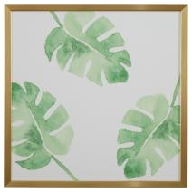 "Rivet Watercolor Green Leaf Print Wall Art in Gold Wood Frame, 30"" x 30"""