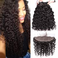 10A Water Wave Bundles with Closure (22 24 26+20) Wet and Wavy Brazilian Virgin Human Hair 3 Bundles with 13x4 Frontal Lace Closure with Baby Hair Free Part 1B# Curly Wave Human Hair Extensions