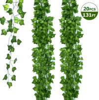 Ohuhu 131 FT/20 Strands Artificial Ivy Garland Fake Leaf Plants, Greenery Garland Vines Hanging for Wedding Party Office Garden Baby Shower Home Wall Decor, 79 Inch Each, Green
