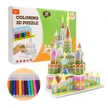 QUN FENG 3D Puzzle Set Art and Craft Coloring Painting 3D Puzzle Arts and Crafts for Kids Age 7 8 9 10 11 12. Fun Creative DIY Toys Gift for Girls and Boy Doodle, Castle