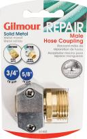 """Gilmour 100049168 Metal Heavy Duty Zinc and Brass Male Clamp Coupling, 5/8"""" x 3/4"""""""