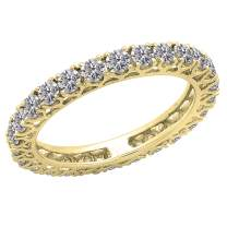 Dazzlingrock Collection 1.45 Carat (ctw) 14K Gold Round Diamond Ladies Wedding Band Stackable Eternity Ring 1 1/2 CT