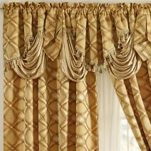 GOHD Golden Ocean Home Decor Dance with Wind. Jacquard Window Curtain Panel Drape with Attached Fancy Valance. 2pcs Set. Each pc 54 inch Wide x 84 inch Drop with 18 inch Valance. (Bronze)