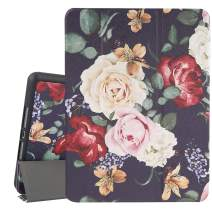 Hi Space iPad 10.2 Case Rose Flower iPad 7th Generation Case with Pencil Holder 2019, Peony Floral Slim Stand Back Shell Protective Cover Shockproof Case with Auto Sleep/Wake for A2197 A2198 A2200