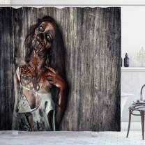 "Ambesonne Zombie Shower Curtain, Angry Dead Woman Sacrifice Fantasy Design Mystic Night Halloween Image, Cloth Fabric Bathroom Decor Set with Hooks, 84"" Long Extra, Peach"