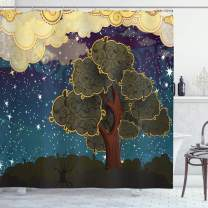"Ambesonne Nature Shower Curtain, Funk Art Vibrant Starry Night Sky Puffy Clouds Tree Illustration Print, Cloth Fabric Bathroom Decor Set with Hooks, 70"" Long, Pale Yellow"