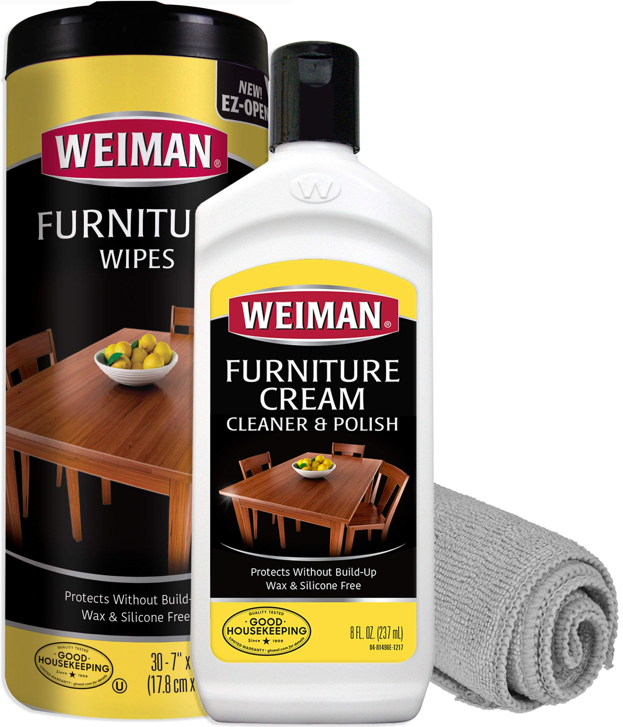Weiman Wood Cleaner Conditioner Polish and Wipes with Microfiber Cloth - Use On Furniture, Wood Table Cleaner, Cabinet Restorer, Deep Conditioning and Polishing Wood Surfaces