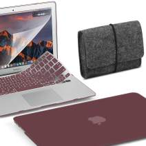GMYLE MacBook Air 13 Inch Case A1466 A1369 Old Version 2010 2017, Storage Bag Pouch Travel, Screen Protector and Keyboard Cover 4 in 1 Set (Burgundy)