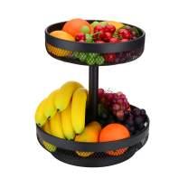 IBERG 2 Tier Fruit Basket Mesh Fruit Bowl - Basket Stand for Fruits Vegetables Bread Snacks (Black)
