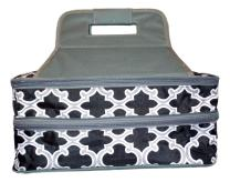 101 BEACH Thermal Insulated Casserole Carrier Bag with 2 Compartments (Black with Gray Quatrefoil)