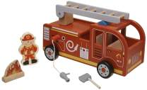 Tooky Toy, 11.81 x 6.69 x 4.33 inches, Fire Truck, Wood