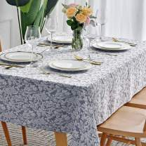 maxmill Jacquard Table Cloth Damask Design Water Proof Wrinkle Free Heavy Weight Soft Tablecloth Decorative Fabric Table Cover for Outdoor and Indoor Use Rectangular 60 x 104 Inch Stone Blue