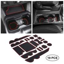JKCOVER Premium Custom Liner Mat Accessories Compatible with Toyota Tacoma 2016 2017 2018 2019 2020 2021, Cup Holder, Door Pocket and Center Console Inserts 19 Pcs (Double Cab, Red Trim)