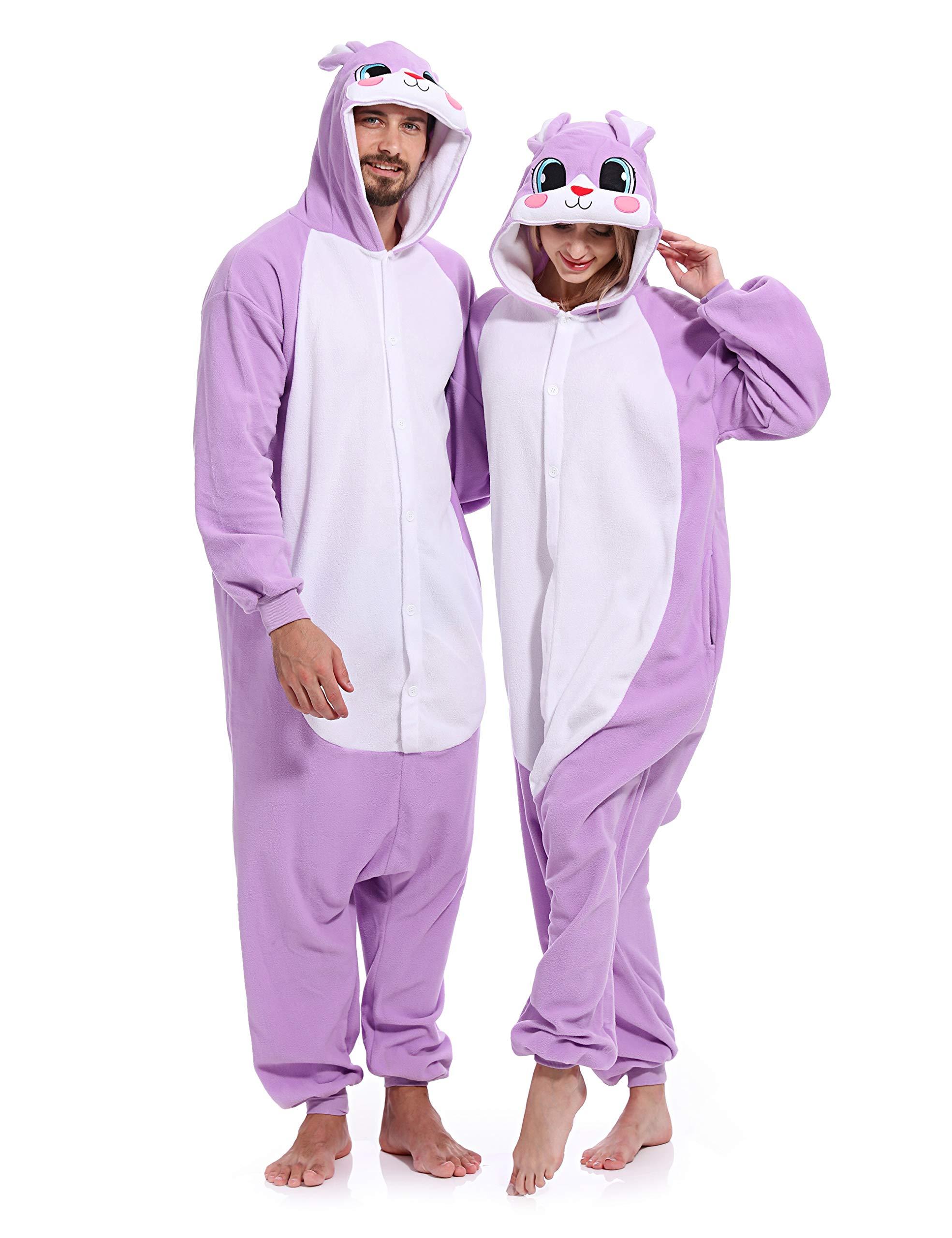 vavalad Adult Bunny Onesie Adult Unisex Pajamas Animal One Piece Cosplay Costume for Women Men