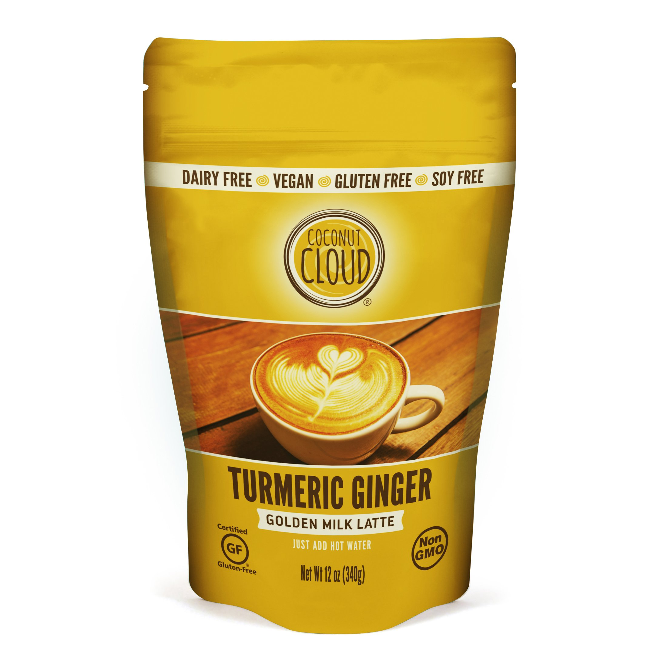 Coconut Cloud: Vegan Golden Milk Turmeric Ginger Latte   Delicious & Creamy, Coconut Milk Powder, (Instant Mix, Just Add Water. Great in Smoothies & Recipes), 12 oz