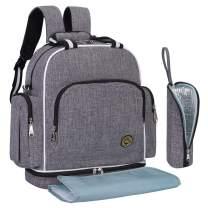 QIMIAOBABY Diaper Bag Smart Organizer Waterproof Travel Diaper Backpack Handbag with Changing Pad (Gray)