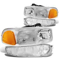 DNA Motoring HL-OEM-DAN99-4P OE Replacement Headlight and Bumper Lamp [01-06 GMC Sierra/Yukon Denali], White