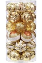 "Sea Team 60mm/2.36"" Decorative Shatterproof Painting & Glitering Designs Christmas Ball Ornaments Set, 30-Pack, Gold"