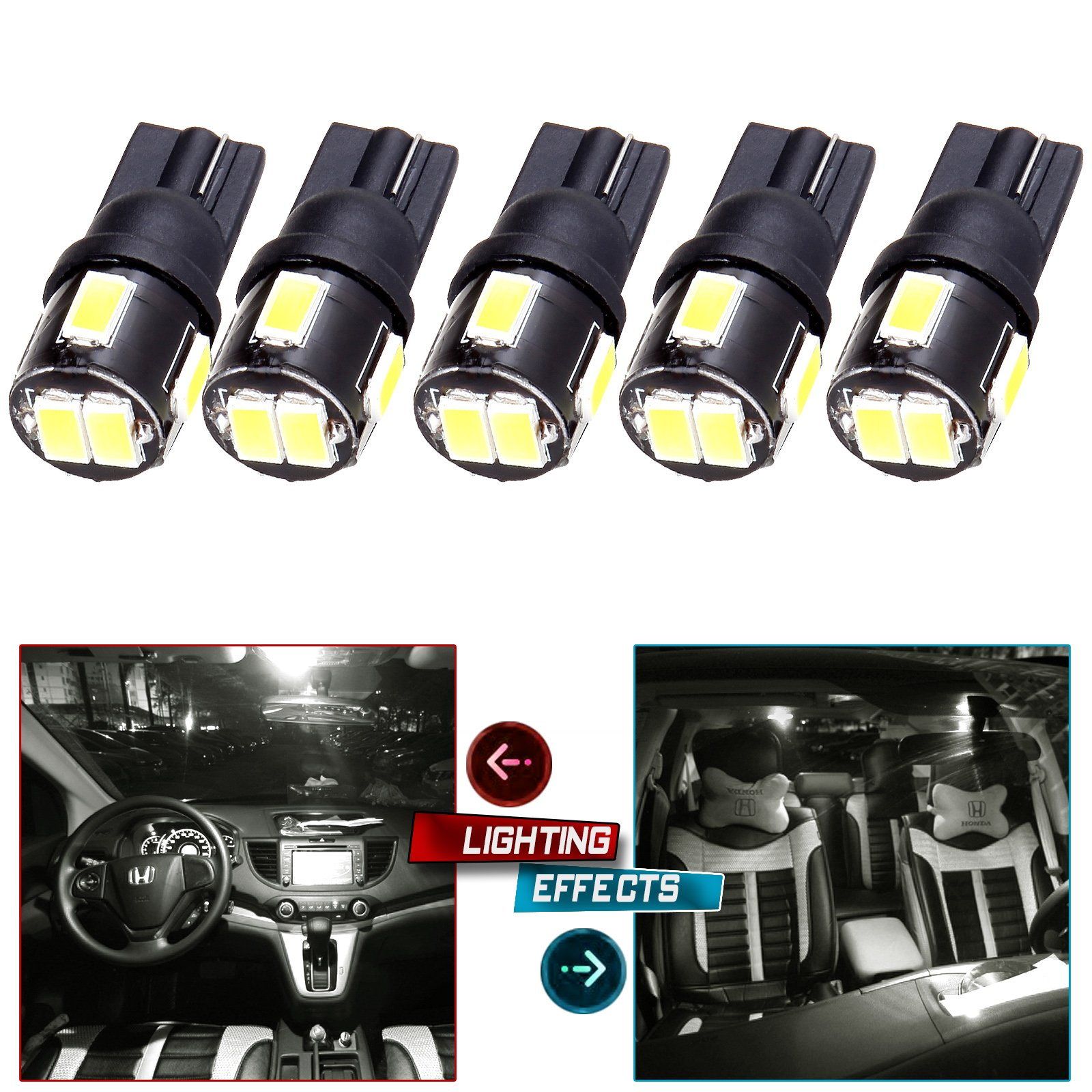 cciyu 194 Extremely Bright LED Bulbs T10-6-5730-SMD fit for Interior Lights Map Light Step/Courtesy/Door Light Glove Box LightInstrument Panel Light Wedge T10 168 2825 W5W White Bulbs Pack of 5