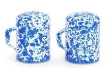 Enamelware Salt and Pepper Shaker Set, 11 ounce, Blue/White Splatter