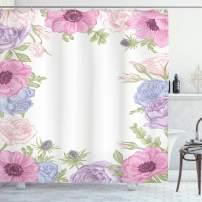 "Ambesonne Anemone Flower Shower Curtain, Hand Drawn Framework with Fresh Summer Flora Bridal Wedding Theme, Cloth Fabric Bathroom Decor Set with Hooks, 75"" Long, Pink Blue Green"