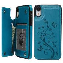 SUPWALL iPhone XR Card Holder Case, iPhone XR Wallet Case Embossed Butterfly PU Leather Cover Shockproof Kickstand with Credit Card Slot, Durable Protective Case for iPhone XR 6.1 inch, Blue