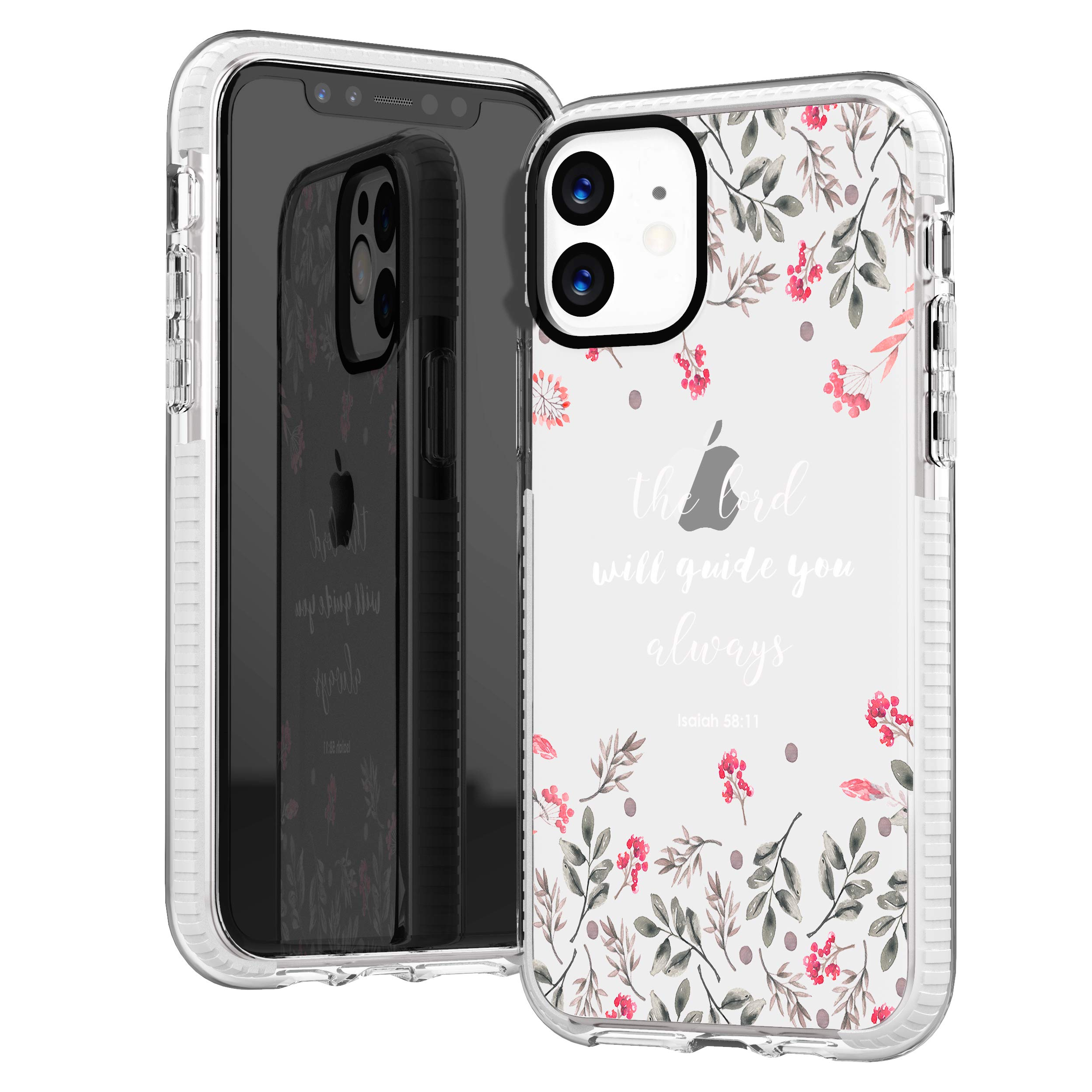 iPhone 11 Case,Spring Floral Flowers Leaves Bible Verses Inspirational Christian Christ Lord Quotes Isaiah 58:11 Trendy Cute Girls Women Soft Protective Clear Case With Design Compatible for iPhone 11