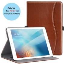 Ztotop Case for iPad Pro 9.7 Inch 2016, Premium PU Leather Business Folding Stand Folio Cover with Auto Wake/Sleep and Multiple Viewing Angles for iPad Pro 9.7'' 2016 Release,Brown