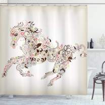 """Ambesonne Abstract Shower Curtain, Abstract Floral Horse Flower Leaf Ornamental Paisley Pattern Swirl Artwork, Cloth Fabric Bathroom Decor Set with Hooks, 84"""" Long Extra, CreamBrown"""