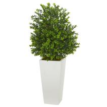 Nearly Natural Artificial Plant in White Sweet Grass in Tower Planter (Indoor/Outdoor), Green