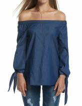 Zeagoo Women Off The Shoulder Blouse Summer Shirts Top Long Sleeve Tie Cuff,Dark Blue,Large