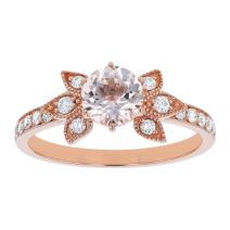 Olivia Paris 14K Rose Gold Flower Morganite & Diamond Vintage Engagement Ring (1/4 ctw, H-I, I1)