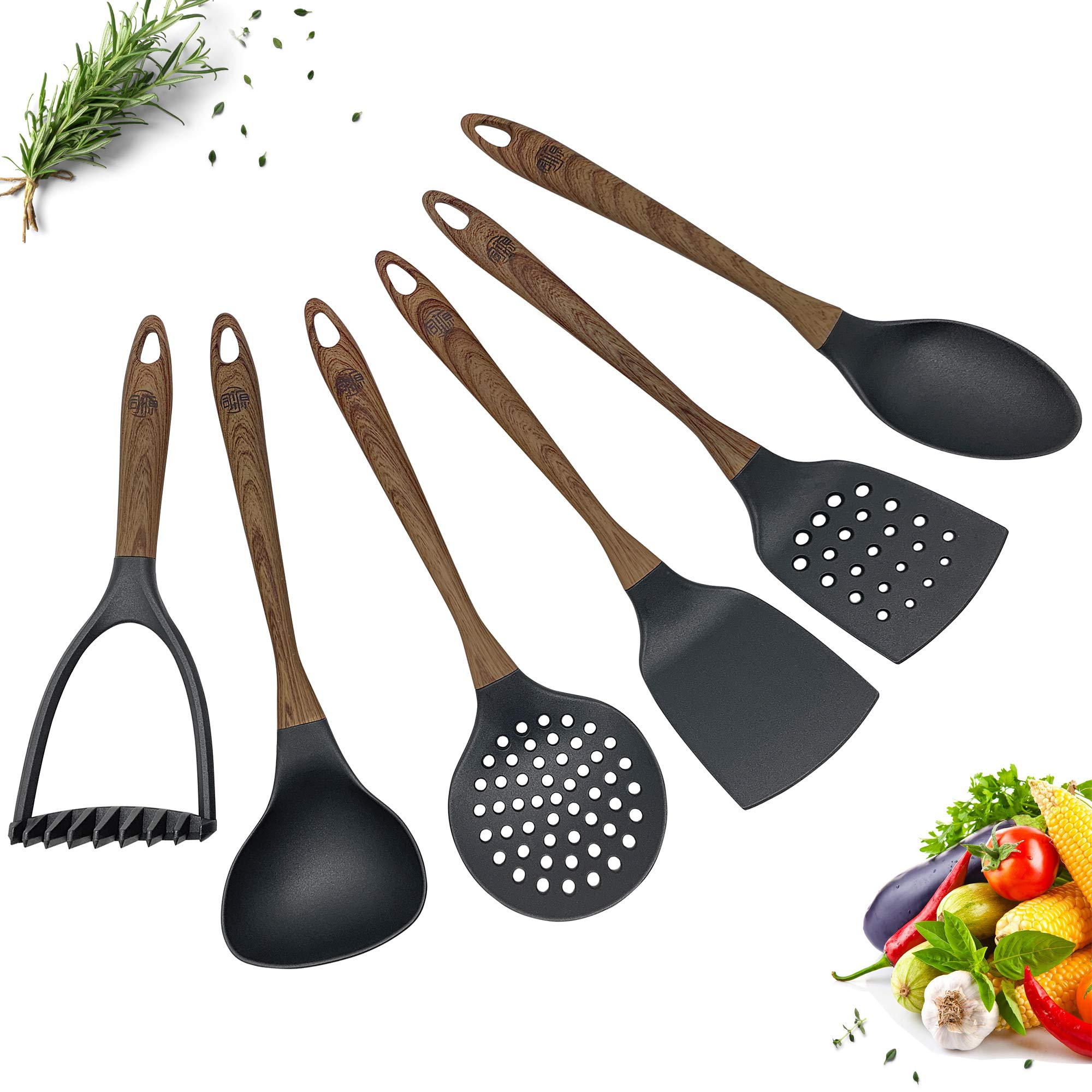 TongYuan Cooking Utensils with Soft Woodlike Handle-Stylish And Comfortable Grip Design- Kitchen Gadgets Utensil Set for nonstick cookware