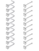 JOERICA 20 Pcs 20G Stainless Steel Nose Studs Rings Pin and L Bend Body Piercing CZ Inlay