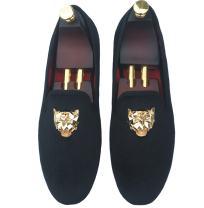 Justar Men's Black Velvet Loafers Slip-on Dress Shoes with Gold Buckle Slippers Flats
