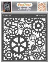 CrafTreat Gear Stencils for painting on Wood, Canvas, Paper, Fabric, Floor, Wall and Tile - Gears - 12x12 Inches - Reusable DIY Art and Craft Stencils - Clock Gear Stencil