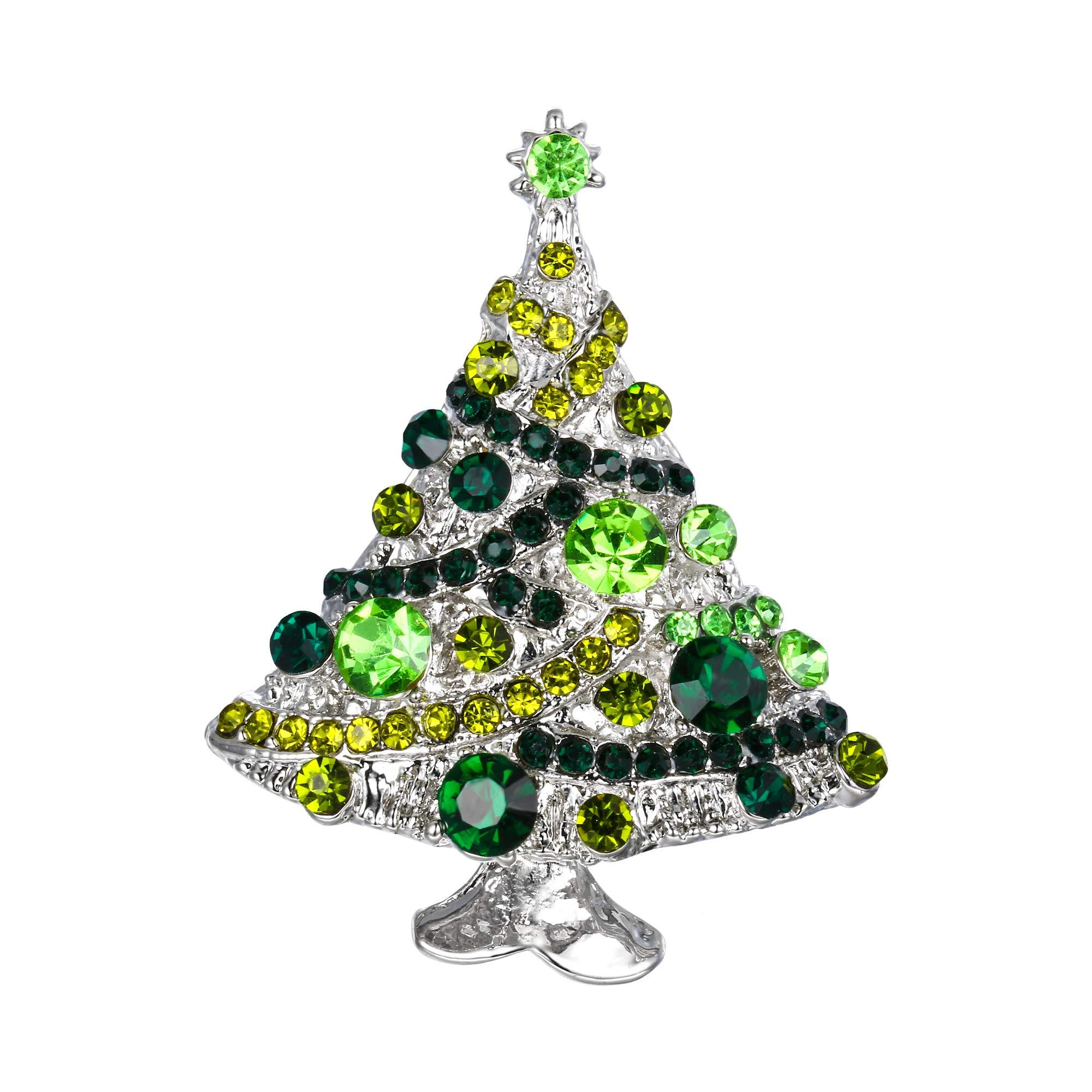 EVER FAITH Streamer Star Christmas Tree Brooch Pin Austrian Crystal