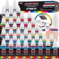 U.S. Art Supply 36 Color Deluxe Acrylic Airbrush, Leather & Shoe Paint Set with Cleaner, Thinner, 50-Plastic Mixing Cups, 50-Wooden Mix Sticks and Color Mixing Wheel