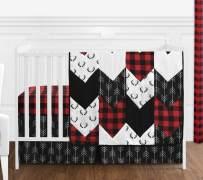 Sweet Jojo Designs Woodland Buffalo Plaid Baby Boy Nursery Crib Bedding Set - 4 Pieces - Red and Black Rustic Country Deer Lumberjack Arrow