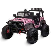 Kidzone Kids 12V9AH Battery Powered Extra Wide Seat Ride On Truck with DIY License Plate, Off Road Big Wheels, Front Bumper, LED Light, Remote Control, Bluetooth Music, 2 Speeds - Camo Pink
